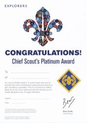 Chief Scout's Platinum Award Certificates (Pack of 10) - £4.00